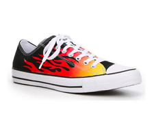 Converse Men's  Taylor All Star Low Top Black Flames Print, Black/Enamel Red 11