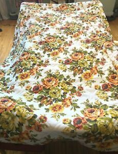 Vintage Floral Flower Quilted Bedspread Sears Green, Orange Yellow - FULL/QUEEN