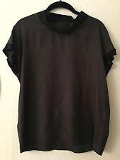 Auth LANVIN Black Top Blouse Short Sleeves MRSP $1690 Sz 38 Sz US 4 S