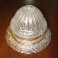 Reclaimed Antique Art Nouveau Pressed Glass & tin Ceiling flush fixture 16' diam