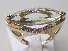 Unique 14k. Yellow Gold Marquise Green Amethyst & Pink Sapphire Ring, Vintage