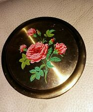 Vintage Pressed Powder Compact with Pink Roses