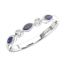 0.25 Ct Round Cut Diamonds with Blue Sapphire Half Eternity Ring 9K White Gold