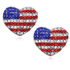 USA US American Flag Patriotic Heart Charm Stud Post Earrings Jewelry e32p