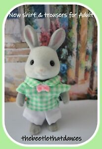 Sylvanian Families Clothes, New Trousers F Shirt & Tie for Adult Cat, Rabbit ETC