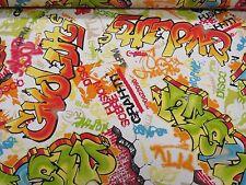 Kids Grafitti en Coton Imprimé Tissu Rideau Upholstery Quilting Artisanat