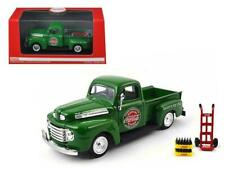 1948 Ford Pickup Truck Coca-Cola Green with Coke Bottle Cases and Hand Cart 1/43