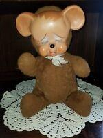 Vintage 1950's Knickerbocker Pouting Teddy Bear Plush Rubber Face