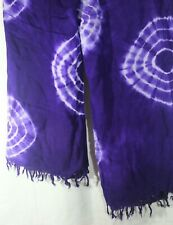 Large Sarong Wrap Table Cover SCARF PURPLE Aubergine Tie Dye  Fringed 45 x 62