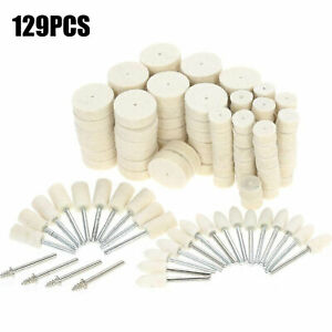 129Pcs/Set Wool Felt Polishing Buffing Pads Waxing Head Wheel Dremel Accessories