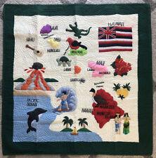 """Hawaiian Quilt Blanket Wall Hanging """"Map of the Hawaiian Islands"""" - SEE DESC!"""