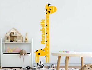 Personalised Giraffe Height Chart Wall Sticker | Kids Growth Chart Decal
