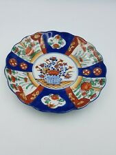 ANTIQUE CHINESE IMARI PORCELAIN PLATE HAND PAINTED FLORAL MOTIF SCALLOPED EDGE