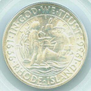 1936 Rhode Island Commemorative Silver Half Dollar - PCGS MS 64 - RARE