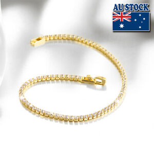 18K Gold Filled Tennis Bracelet Bangle with Clear Cubic Zirconia Crystal