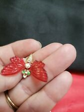 Bee Moth Brooch Ladies Metal Jewelry Butterfly Bug Insect Gold Red Wings