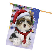 Biewer Terrier Dog In Christmas Holiday House Flag Flg53935