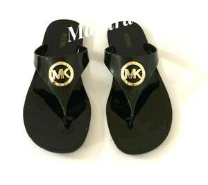Women MK Michael Kors Lillie Jelly Thong Flat Slide Sandals PVC Black