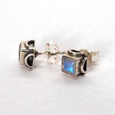 Echter Regenbogen Mondstein Ohrringe Ohrstecker 925 Sterling Silber Ohrringe