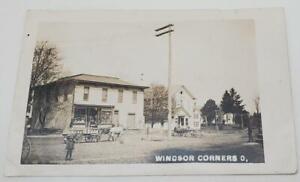 Windsor Ohio Corner Store IOOF Hall Postcard 1908 Loomis Estate Horse Wagon Kid