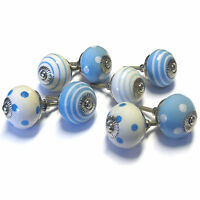 Set of 8 Traditional Blue Ceramic Cupboard Door Knobs Cabinet Handles PKS11