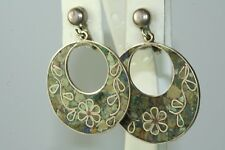 Azurite Hoop Screw Earrings Vintage Mexican Sterling Silver