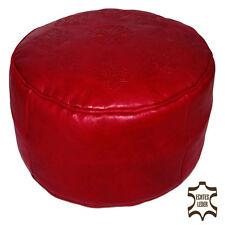 marocain cuir Coussin de siège tabouret fait à la main Ottoman rond SOLDES Rouge