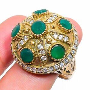 Emerald Ethnic Handmade Gemstone Gift Jewelry Ring Size 9 Z053