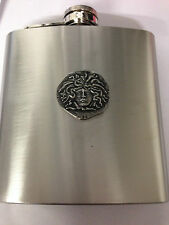 ROMAN MEDUSA REFMPPCH   english pewter 6oz Stainless Steel Hip Flask
