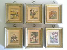 VINTAGE 18TH C STYLE FRENCH COUNTRY FRAMED COLORED ENGRAVING ART PRINTS 6PC SET