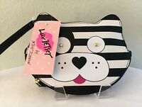 NEW Luv Betsey Johnson Doggie Coin Purse Black White Stripe Wristlet Wallet NWT