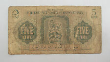 1943 Libya 5 Lire Military Authority in Tripolitania Note -  Very Good, VG