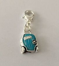 BLUE & SILVER HOLIDAY SUITCASE CLIP ON CHARM FOR BRACELET - SILVER PLATE -NEW
