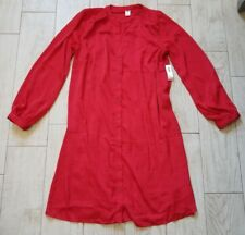 NWT Old Navy satin shirt dress size medium M - red