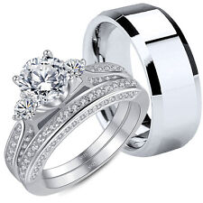 3 PC Women's 2.55ct Princess Cut Sterling Silver Wedding Ring Band Set Size5-10 5