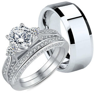 Couple Rings Stainless Steel Ring for Men Three Stone Sterling Silver for Women