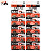20 x Maxell LR44 Alkaline batteries 1.5V A76 AG13 303 357 L1154 SR44 Pack of 2