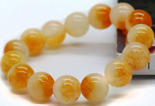 12mm Natural Yellow Jade Jadeit Round Beads Gemstone Stretch Bracelet
