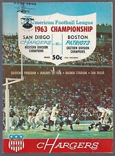 1963 AFL BOSTON PATRIOTS @ SAN DIEGO CHARGERS PLAYOFF CHAMPIONSHIP PROGRAM