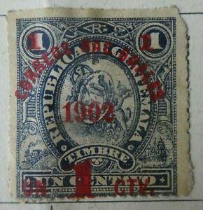 GUATEMALA  1898/1902. Timbre fiscal 1ctk surcharge carmin. neuf.