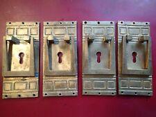 Lot of 4 ANTIQUE VINTAGE ART DECO HEAVY BRASS DOOR DRESSER DRAWER HANDLES EUROPE