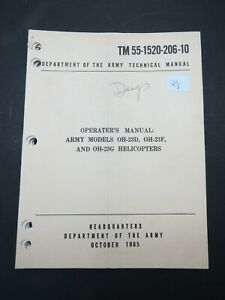 Original 1965 Army Hiller OH-23 D/F/G Raven Helicopter Operator's Flight Manual
