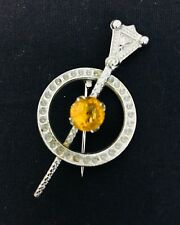 Scottish Pin Brooch Vintage 1960's Citrine Glass