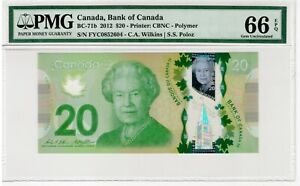 BANK OF CANADA - 20 Dollars 2012 - PMG 66 EPQ Gem Uncirculated Polymer - BC-71b