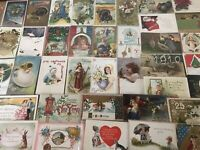 Nice~Lot of 50~Vintage Postcards~Christmas~Valentine~Thanksgiving-etc--a535