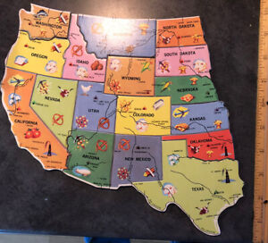 Milton Bradley wood replacement puzzle pieces western US states