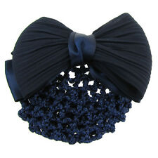 New Dark Blue Ruched Bowknot Snood Net Barrette Hair C Bun Cover for Woman O7U4