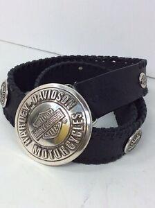 Harley Davidson Mens Black Genuine Leather Size 36 Belt 99545-04VM Silver Buckle