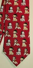 Fashion Neckwear FN Christmas Holiday Puppies Hats Red Silk Necktie Tie