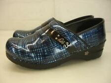 Women's 8 8.5 39 Sanita Koi Carol Blue Black Plaid Patent Leather Clogs Stapled